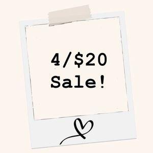 4/$20 SALE!!